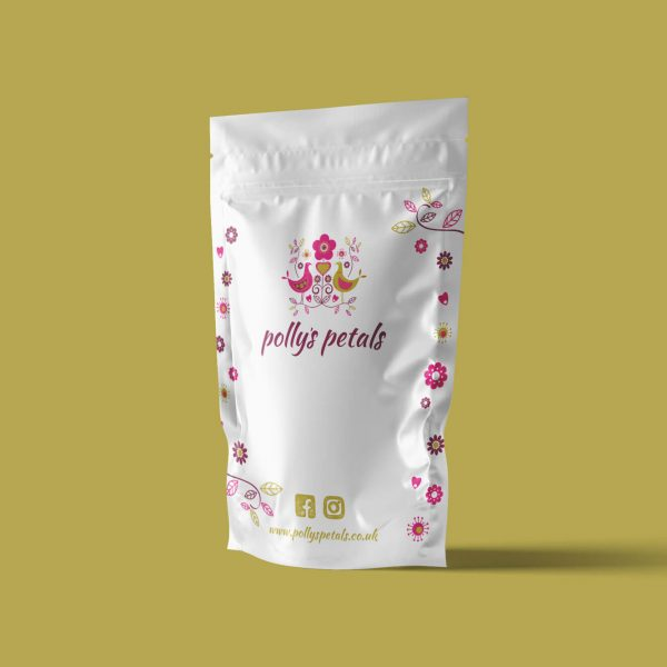 Pollys Petals pouch packaging mockup